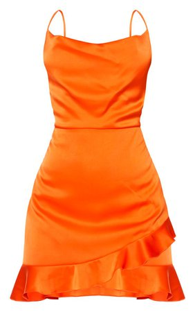 Orange Hammered Satin Frill Hem Detail Strappy Bodycon Dress | PrettyLittleThing USA