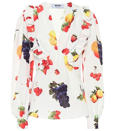 Printed crêpe blouse