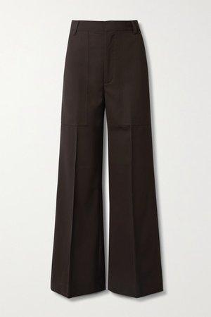 Twill Wide-leg Pants - Dark brown