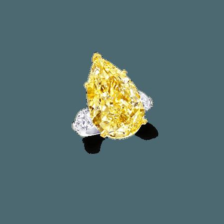 Pear Shape Yellow and White Diamond Ring | Graff