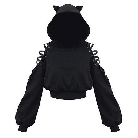 modakawa-sweatshirt-black-one-size-cat-ears-lace-up-short-hoodie-black-14068082671682_720x.jpg (720×720)