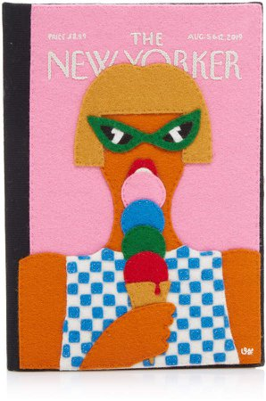 Olympia Le-Tan The New Yorker Ice Cream Embroidered Canvas Clutch