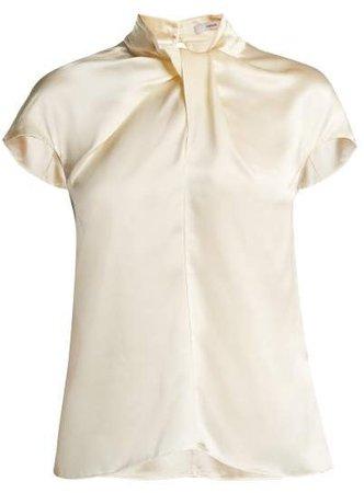 Fianna Cap Sleeved Silk Blouse - Womens - Ivory