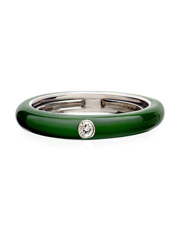 Adolfo Courrier Never Ending 18k White Gold Diamond & Green Ring