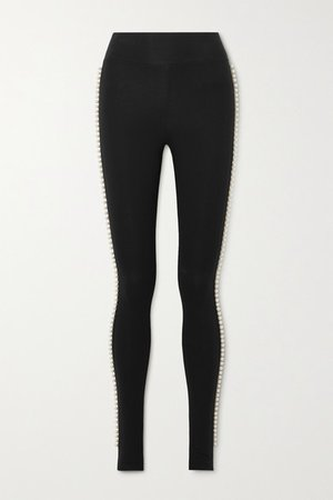 Capezio Faux Pearl-embellished Stretch-cotton Jersey Stirrup Leggings - Black