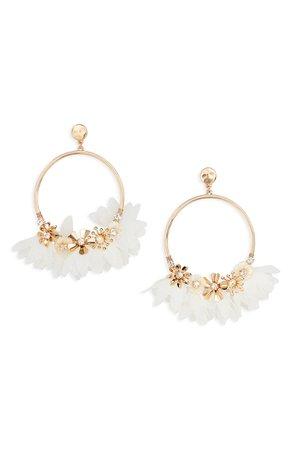 Rachel Parcell Organza Petal Frontal Hoop Earrings (Nordstrom Exclusive) | Nordstrom