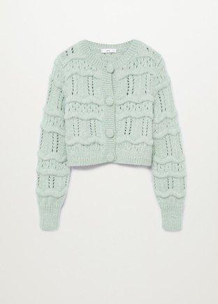 Chunky knit cardigan - Women   Mango USA green