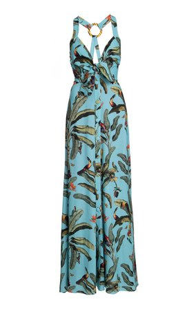 PatBO Tropical Print Halter Neck Maxi Dress