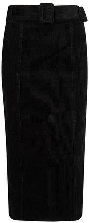 **Tall Black Corduroy Belted Midi Skirt