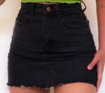 Black Jean Mini Skirt