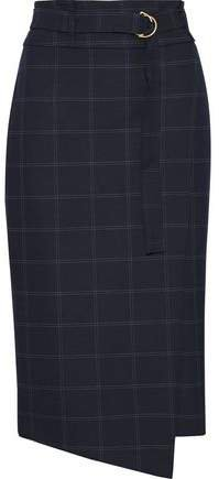 Wrap-effect Checked Twill Skirt