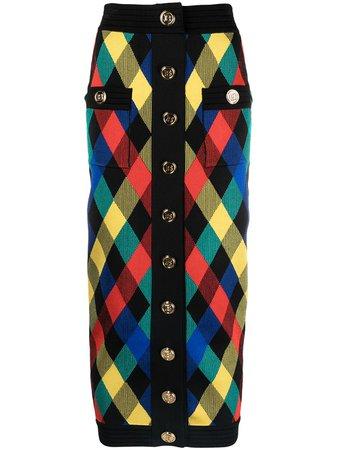 Balmain check print knitted skirt