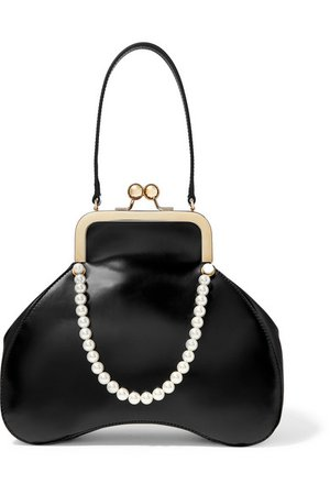Simone Rocha | Baby Bean faux pearl-embellished leather tote | NET-A-PORTER.COM