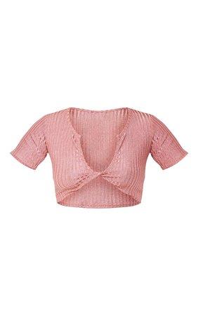 Pink Glitter Rib Twist Front Crop Top | Tops | PrettyLittleThing USA