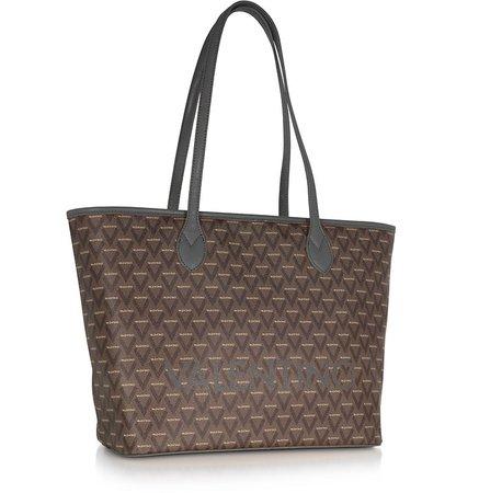 Valentino by Mario Valentino Black Liuto Signature Eco Leather Shoulder Bag at FORZIERI