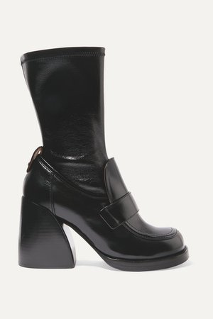 Adelie Glossed-leather Boots - Black