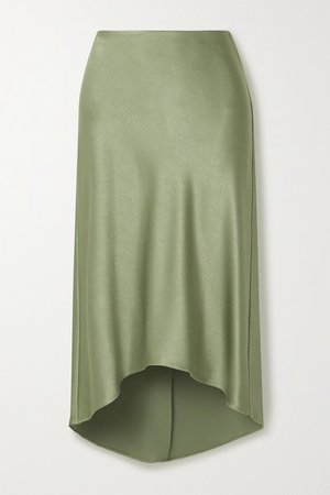 Alice Olivia - Maeve Asymmetric Hammered-satin Midi Skirt - Gray green
