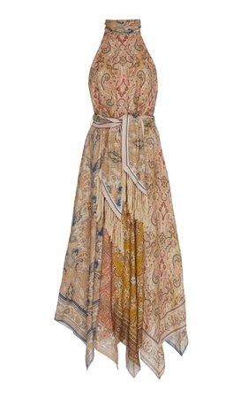 Freja Belted Paisley-Print Linen Halterneck Midi Dress by Zimmermann   Moda Operandi