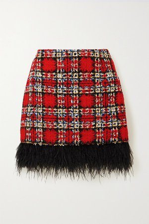 Feather-trimmed Checked Tweed Mini Skirt - Red
