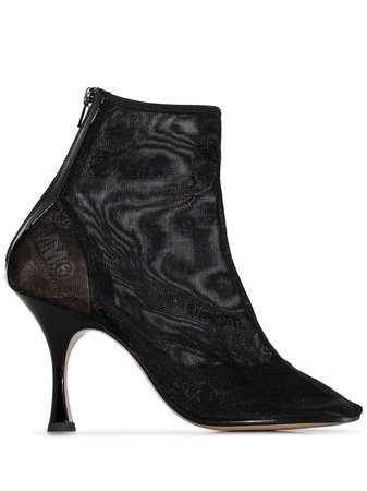 MM6 Maison Margiela Mesh Square Toe Ankle Boots - Farfetch