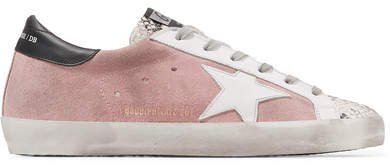 Superstar Distressed Snake-effect Leather And Suede Sneakers - Blush