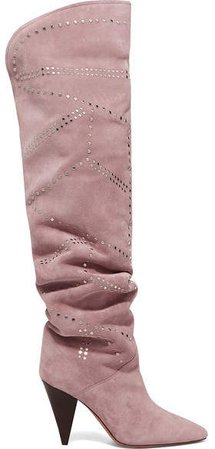 Ladra Studded Suede Knee Boots - Blush