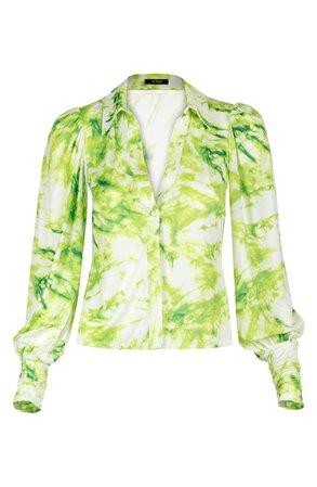 AFRM Zayne Tie Dye Print Blouse white