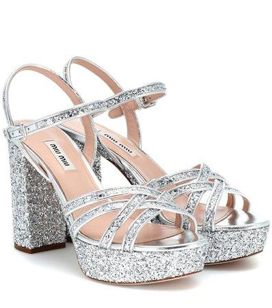 Glitter leather platform sandals