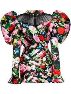 Richard Quinn Floral Print puff-sleeve Dress