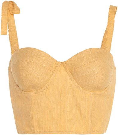 Bow-Accented Silk Bustier