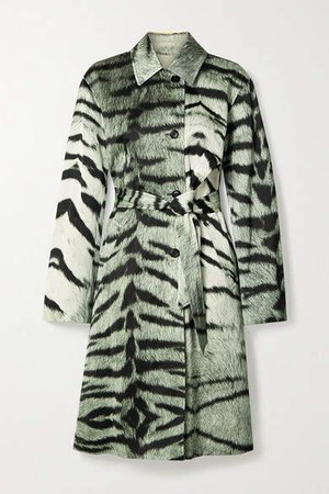 Ramble Tiger-print Satin Trench Coat - Green