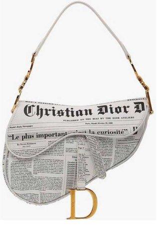 Christian Dior newspaper print saddle bag