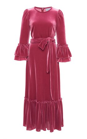 Luisa Beccaria Velvet Midi Dress