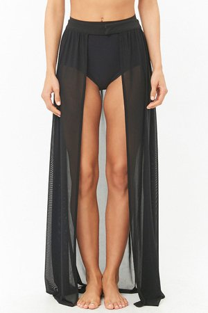 Open-Front Swim Cover-Up Maxi Skirt