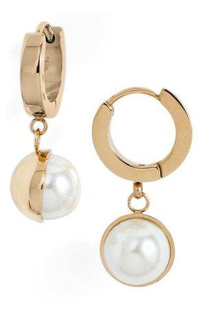 Knotty Imitation Pearl Huggie Drop Earrings | Nordstrom