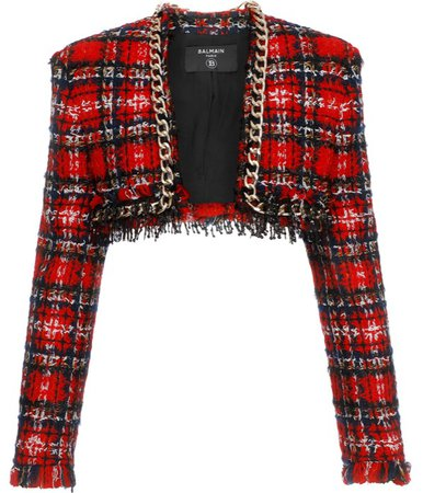 Balmain Chainlink Trimmed Tweed Cropped Jacket