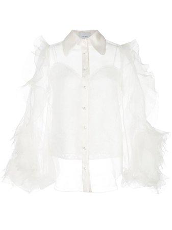 Marchesa Sheer Ruffle Sleeve Blouse - Farfetch