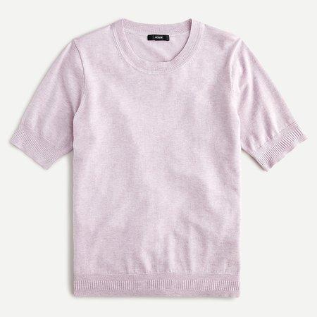 J.Crew: Short-sleeve Silk-blend Crewneck Sweater For Women