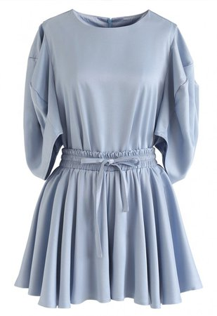 Puff Sleeves Satin Smock Top and Skorts Set in Blue - NEW ARRIVALS - Retro, Indie and Unique Fashion