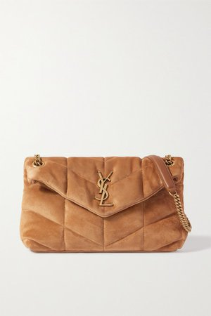 Loulou Puffer Small Quilted Suede Shoulder Bag - Brown