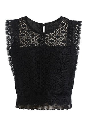 Crochet Lacey Sleeveless Crop Top in Black - Retro, Indie and Unique Fashion