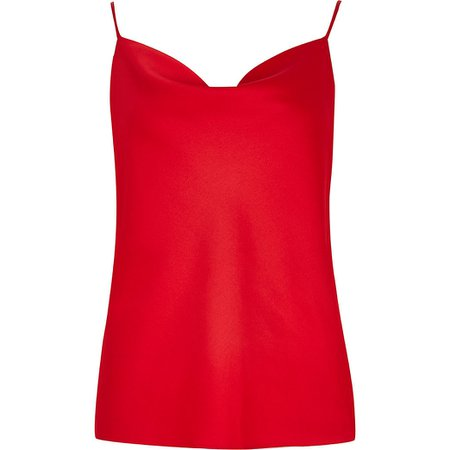 Red sleeveless cowl neck cami top | River Island