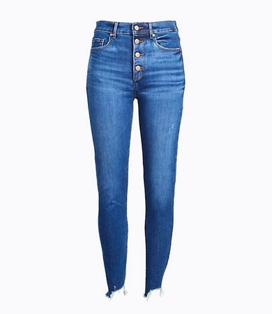 Petite Curvy High Rise Button Front Chewed Hem Skinny Jeans in Rich Authentic Indigo Wash