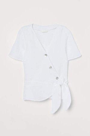 Linen Wrapover Blouse - White