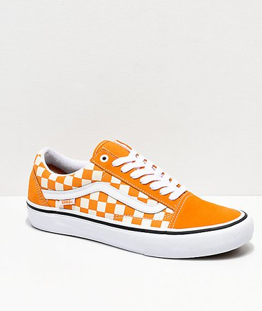 Vans Old Skool Pro Cheddar & White Checkerboard Skate Shoes   Zumiez