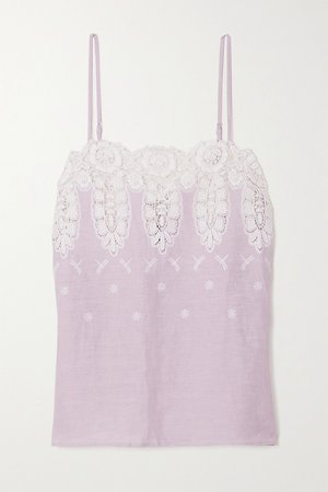 Lilac Morgan crocheted cotton and linen camisole | Miguelina | NET-A-PORTER