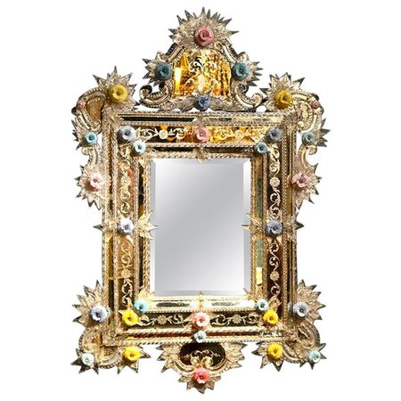 Floral Murano Mirror For Sale at 1stdibs