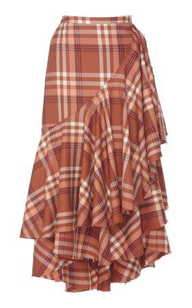 Evoque And Provoque Tiered Ruffle Wool Midi Skirt by Johanna Ortiz | Moda Operandi