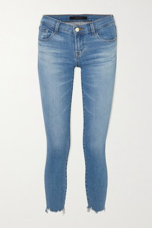 Cropped Distressed Low-rise Skinny Jeans - Mid denim