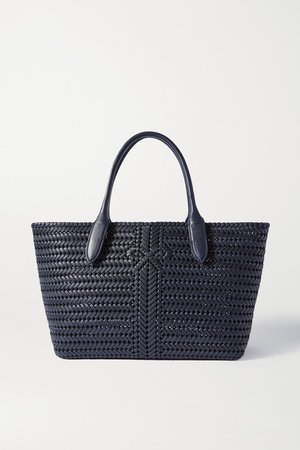 The Neeson Woven Leather Tote - Navy